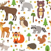 Seamless pattern with cute forest animals, mushrooms, leaves