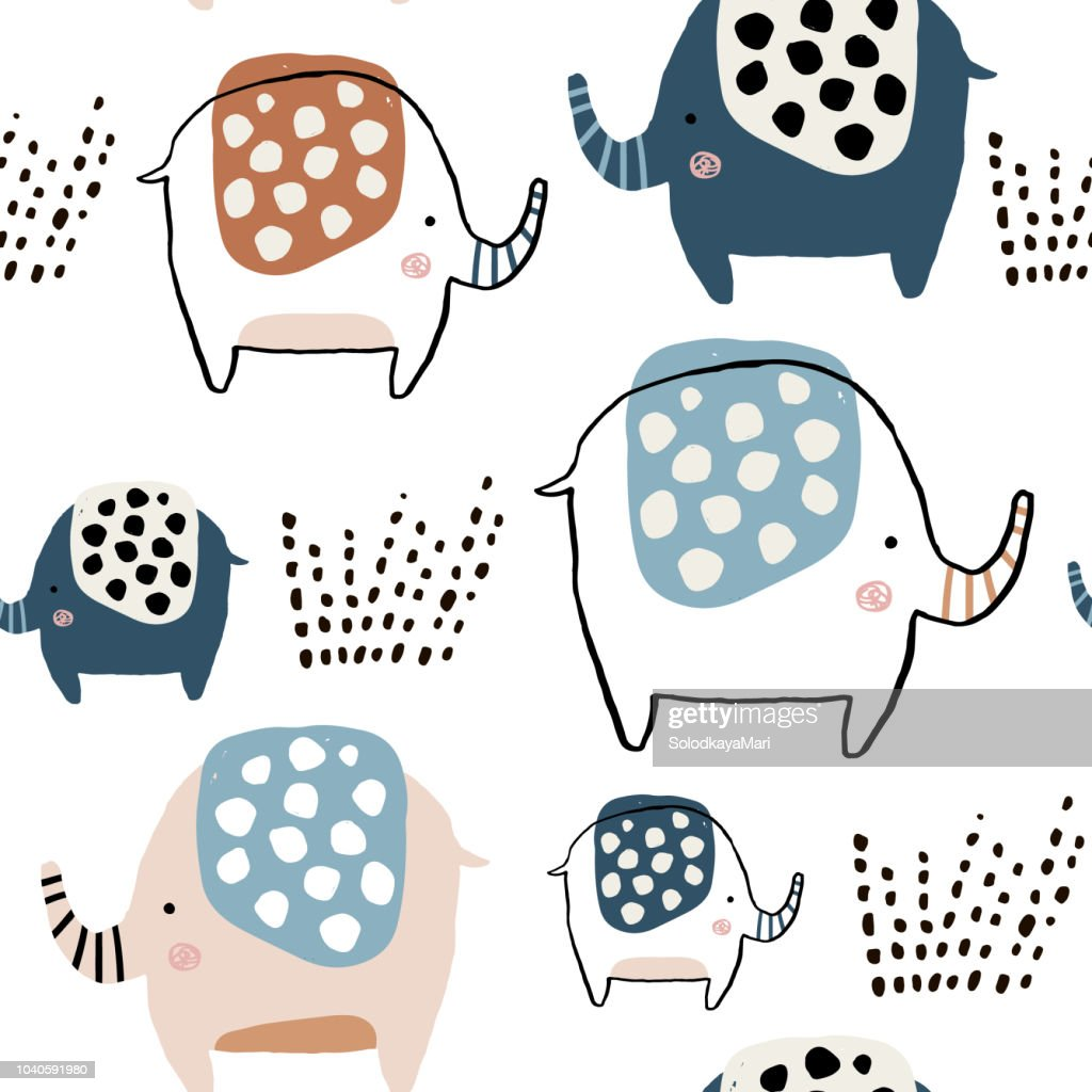 Seamless pattern with cute ink drawn elephants. Creative childish texture. Great for fabric, textile Vector Illustration