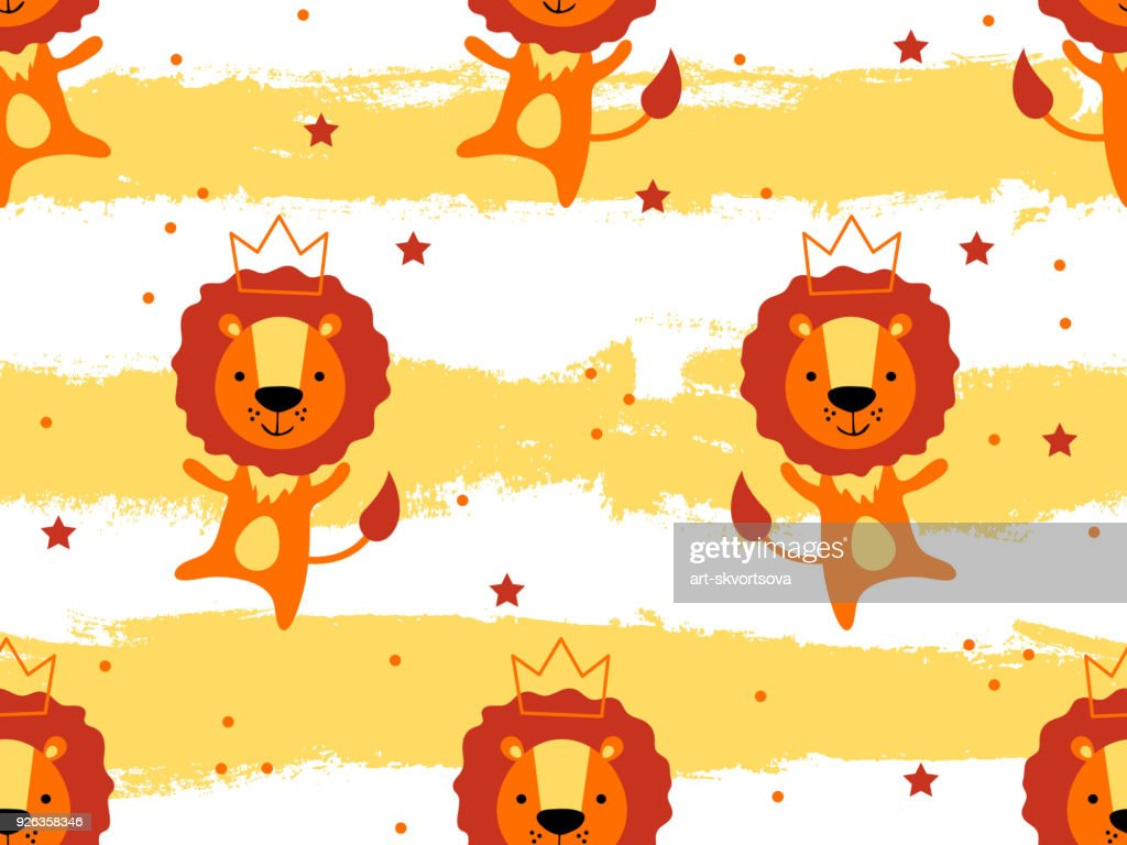 Seamless pattern with cute lion princess in crown. Creative childish texture. Great for fabric, textile Vector Illustration. Perfect for wallpaper, pattern fill, web page background, surface textures