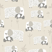 Seamless pattern with cute mom and baby elephant. Creative childish texture. Great for fabric, textile Vector Illustration