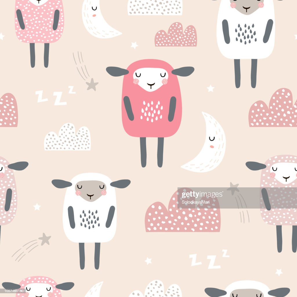 Seamless pattern with cute sleeping sheep, moon, clouds. Creative good night background. Perfect for kids apparel,fabric, textile, nursery decoration,wrapping paper.Vector Illustration