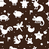 Seamless pattern with different cartoon animal silhouettes. Kids wallpaper. Colorful background for children