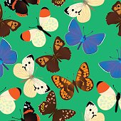 Seamless pattern with different common butterflies