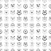 Seamless pattern with different cute animals. Children's pattern for decoration. Vector illustration of a sketch style.