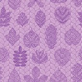 Seamless pattern with different tree leaves