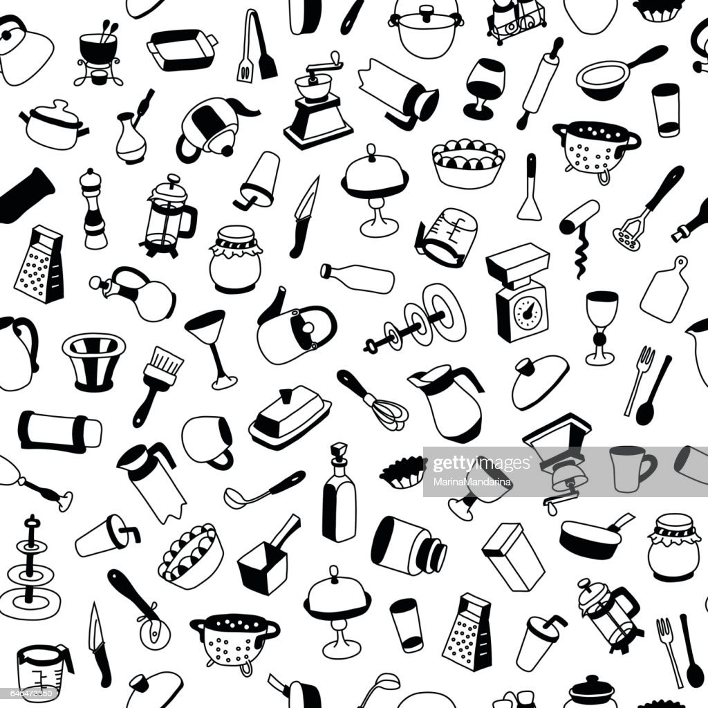 Seamless pattern with different types of cookware.