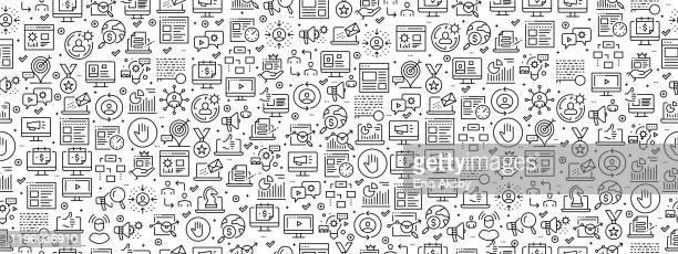 seamless pattern with digital marketing icons - digital marketing stock illustrations