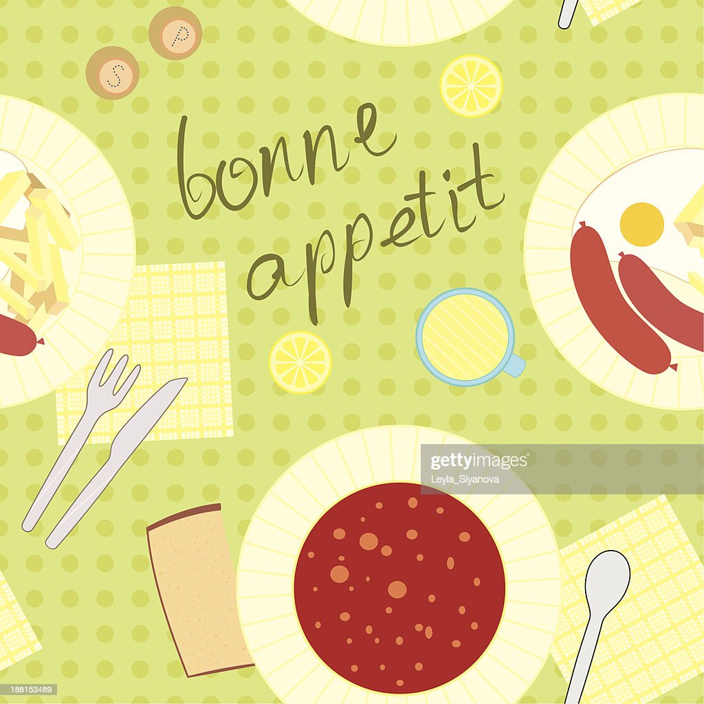 seamless pattern with dinner theme