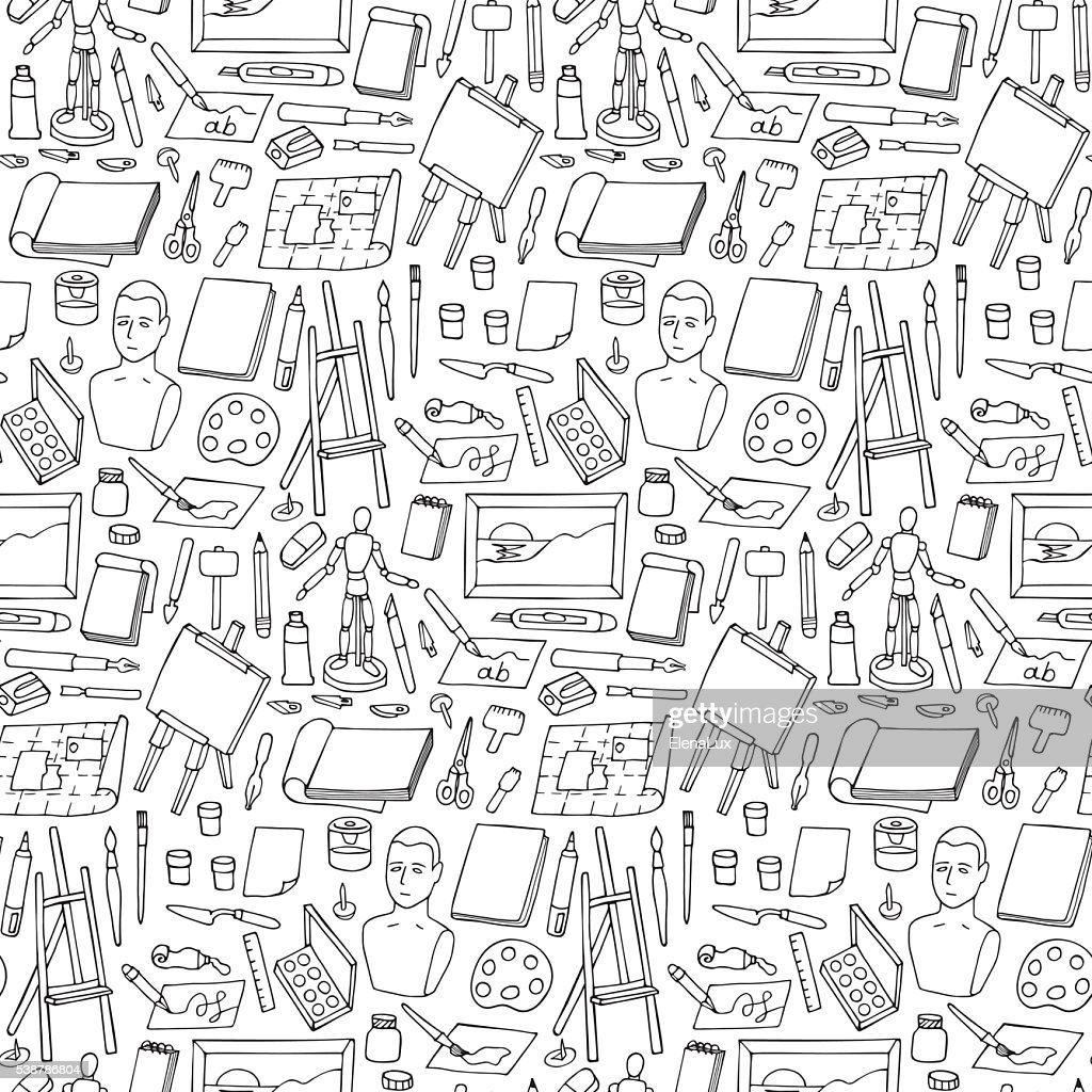 Seamless pattern with doodle art elements