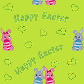 seamless pattern with easter bunny couple.