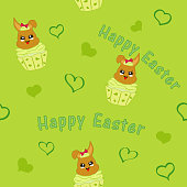 seamless pattern with easter bunny in cupcake.