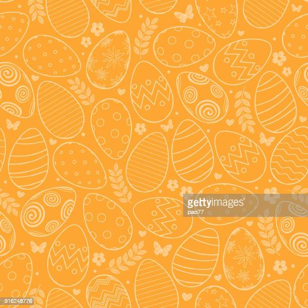 illustrazioni stock, clip art, cartoni animati e icone di tendenza di seamless pattern with easter eggs, flowers and butterfly on orange background - buona pasqua