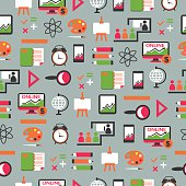 Seamless pattern with education equipment.