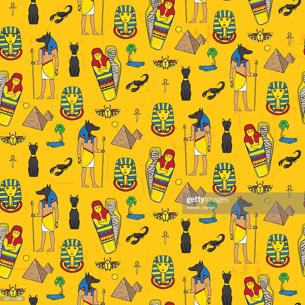 Seamless pattern with egyptean elements