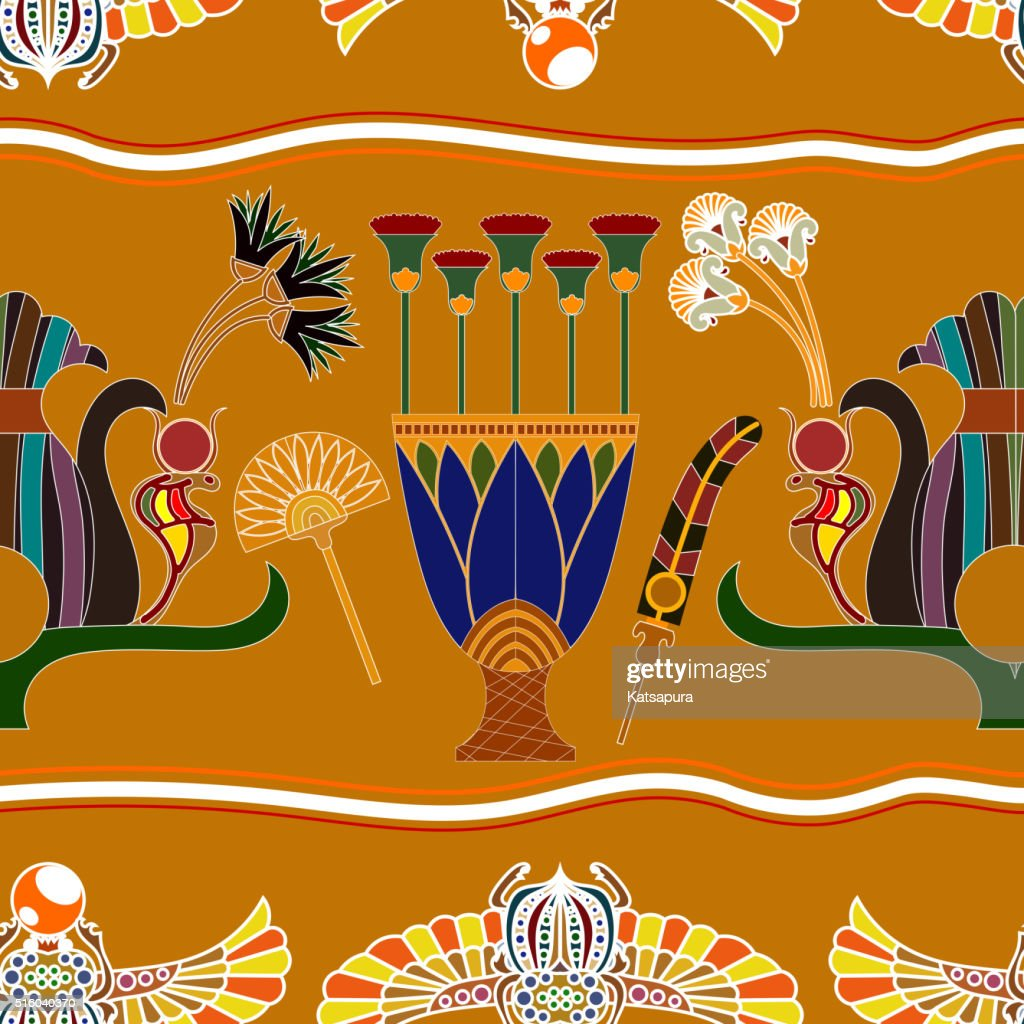 Seamless pattern with elements of Egyptian painting.