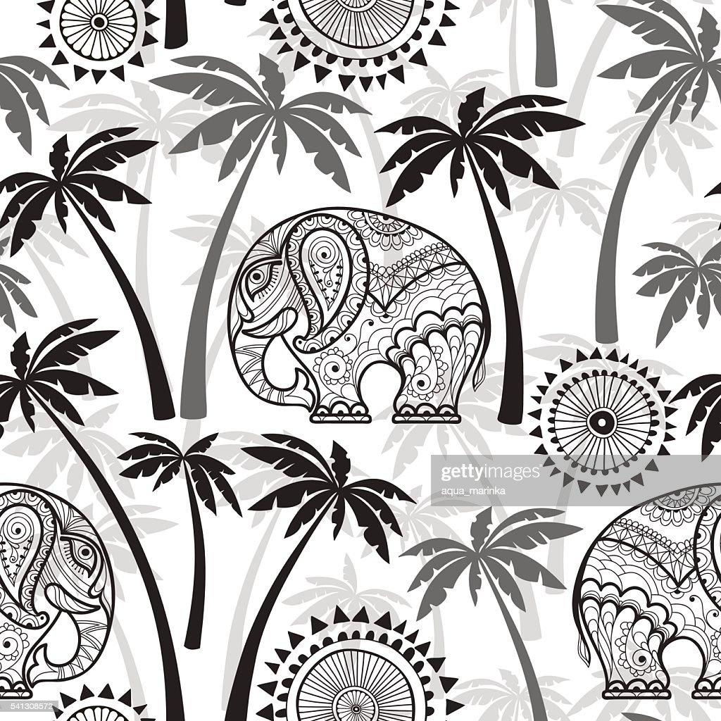 Seamless pattern with elephants and palms. Monochrome vector illustration.