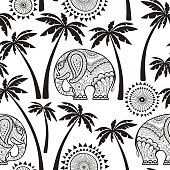 Seamless pattern with elephants and palms.