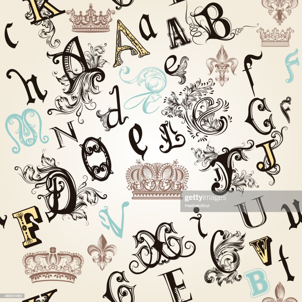 seamless pattern with English ABC in retro style decorated : Vector Art