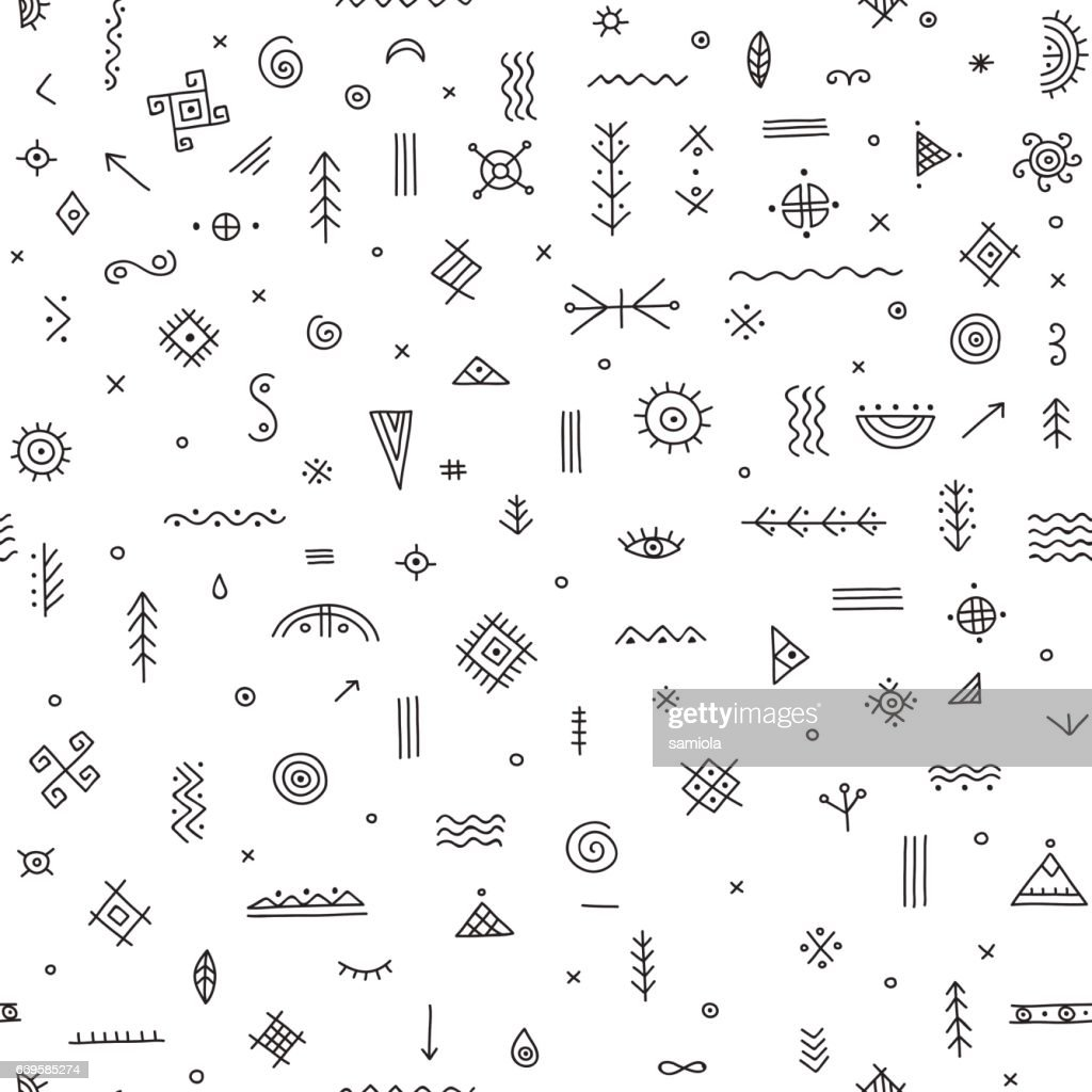 seamless pattern with ethnic tribal symbols