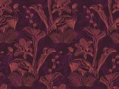 Seamless pattern with exotic flowers and birds.