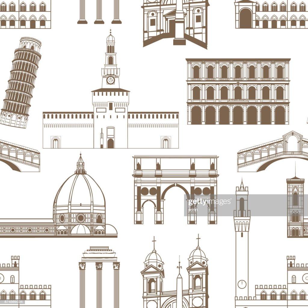 Seamless Pattern with Famous Italian Landmarks