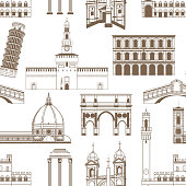 Seamless Pattern with Famous Italian Landmarks