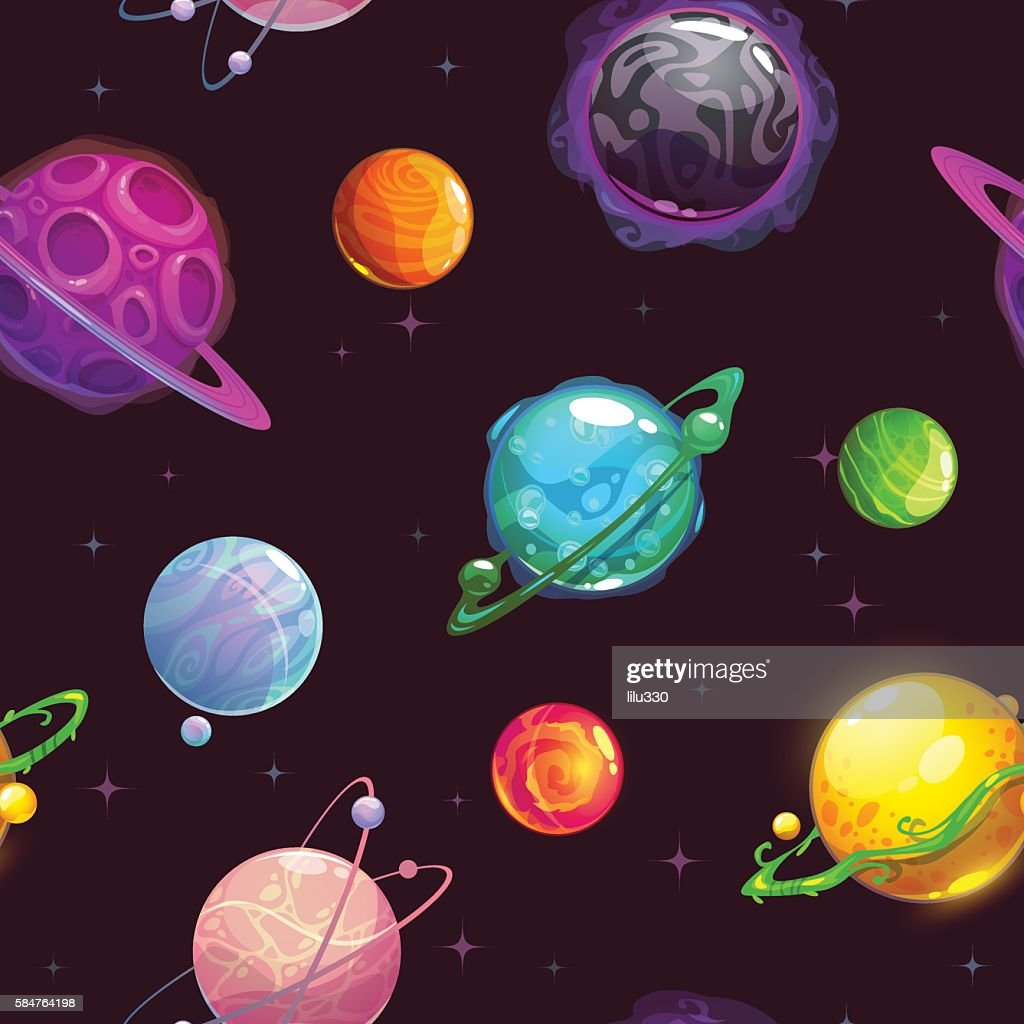 Seamless pattern with fantasy cartoon planets