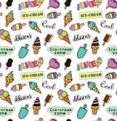 Seamless pattern with fashion patch badges. Pop art. Vector background