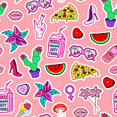 Seamless pattern with fashion patch badges with lollipops, shoes, watermelons, pizza, sunglasses, hearts, mushrooms, high hill shoes, lips.