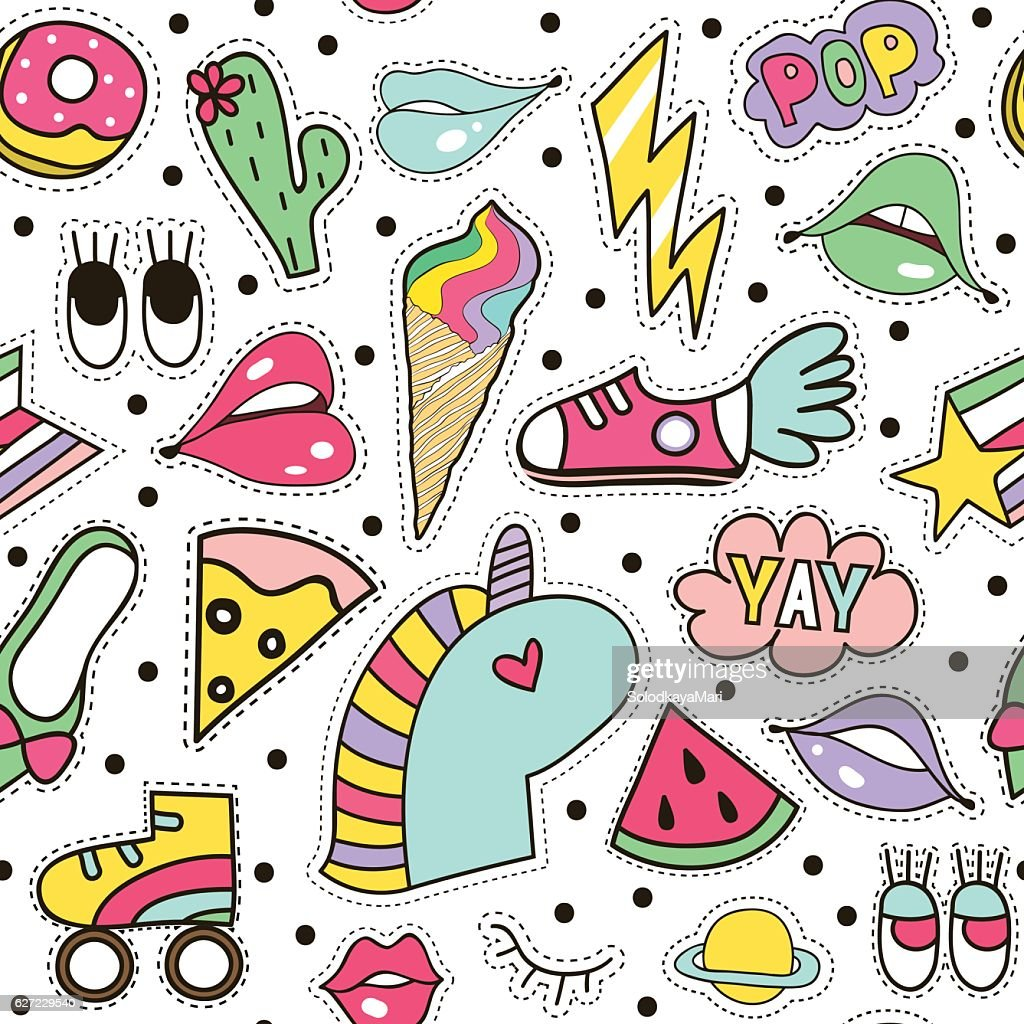 Seamless pattern with fashion patches. Fun retro print pin texture.
