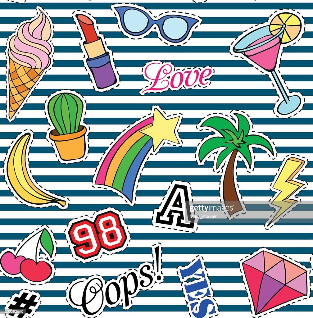 Seamless pattern with Fashion patches. stickers, pins and handwritten notes