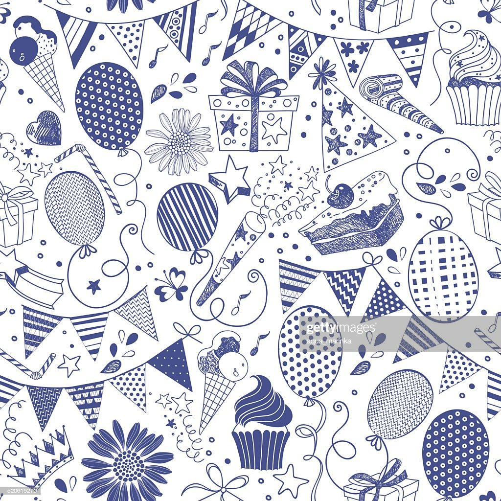 Seamless pattern with festive elements. Vector illustration.