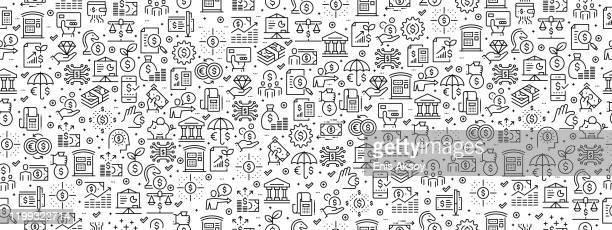 ilustraciones, imágenes clip art, dibujos animados e iconos de stock de patrón sin costuras con iconos financieros - fajo de billetes