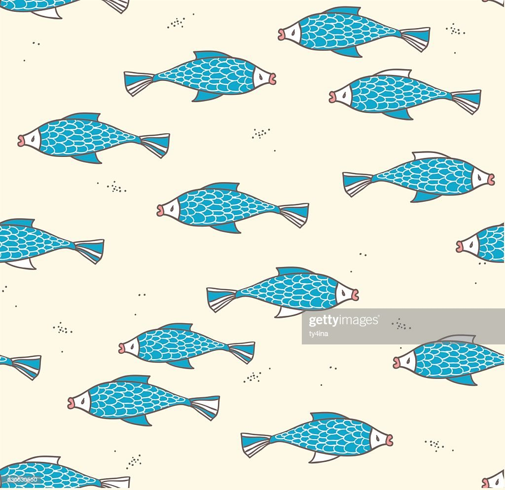 Seamless pattern with fish on a light background