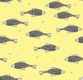 Seamless pattern with fish on a yellow background