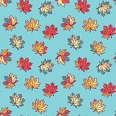 Seamless pattern with flat maple leaves