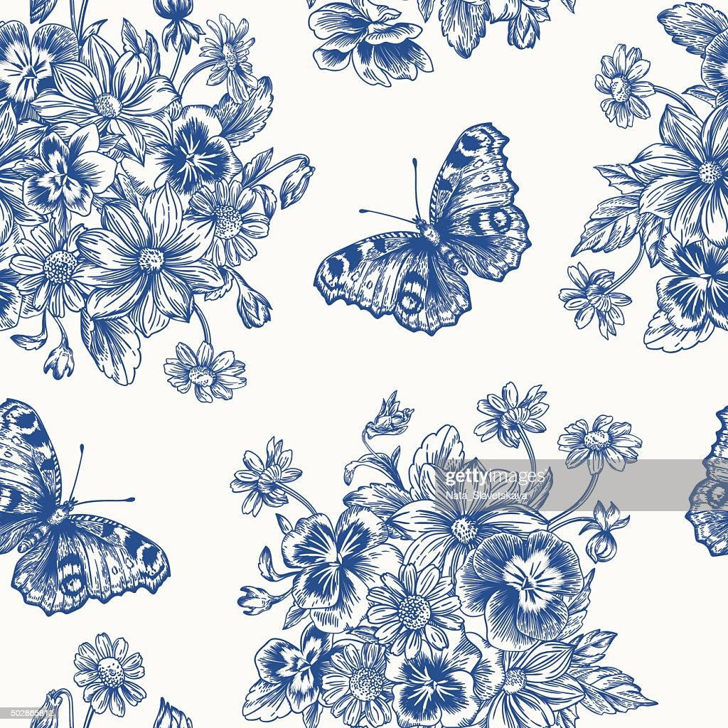 Seamless pattern with flowers and butterflies.