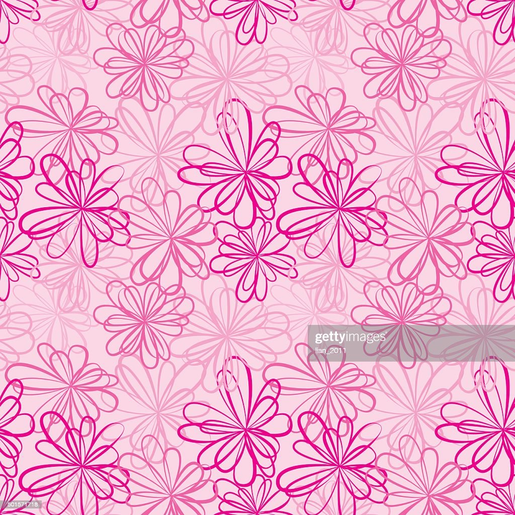 Seamless pattern with flowers and ribbons on pink background.