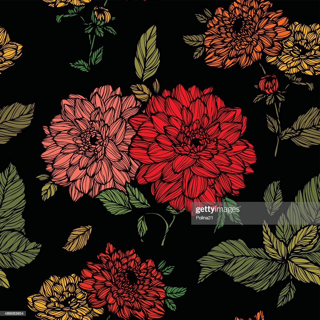 Seamless pattern with flowers dahlias