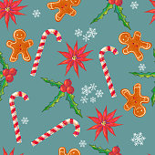 Seamless pattern with flowers, holly berries, sweet cane, ginger cookie
