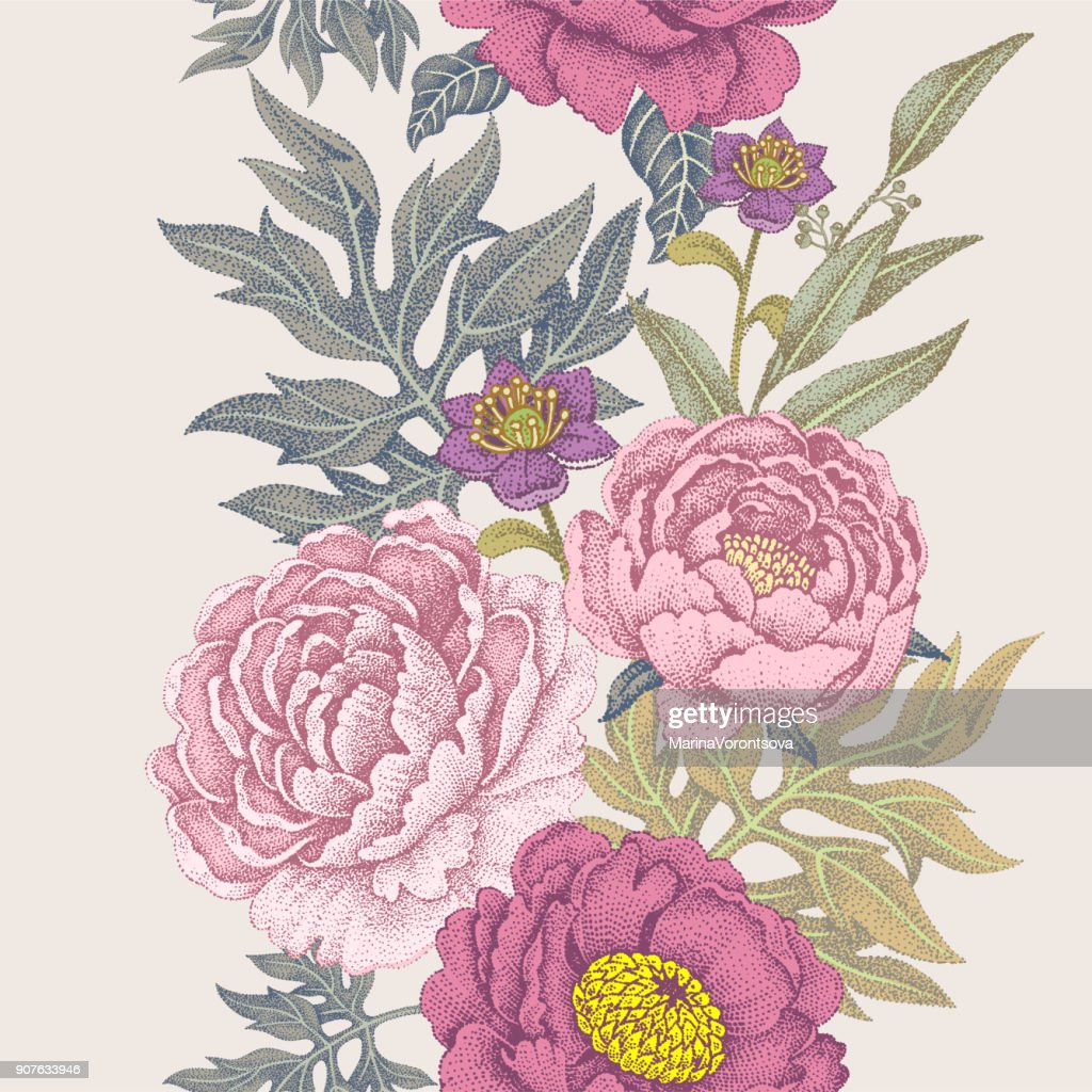Seamless pattern with flowers roses, peonies.