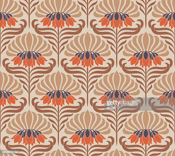 seamless pattern with flowers - art nouveau stock illustrations, clip art, cartoons, & icons