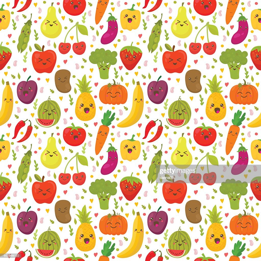 Seamless pattern with fresh vegetables and fruits.