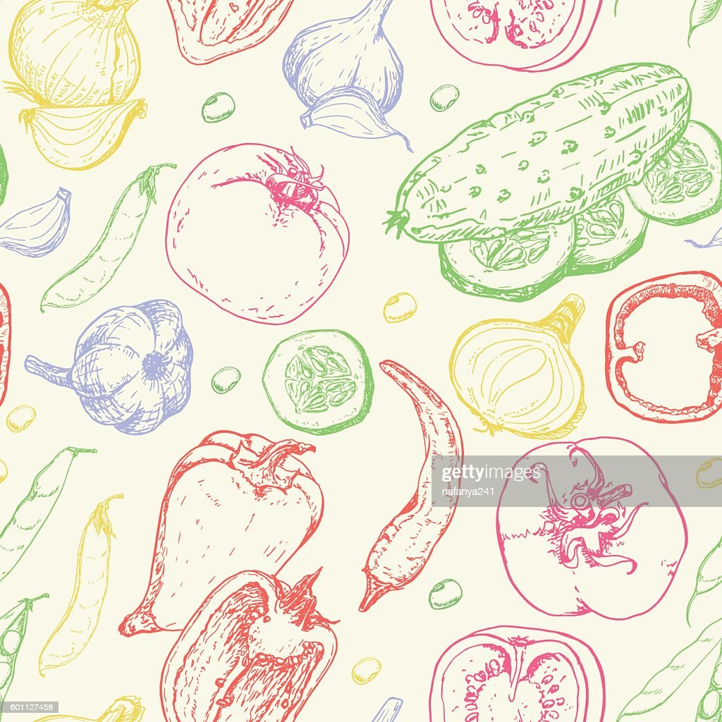 Seamless pattern with fresh vegetables. Tomato, pepper, cucumber, chilli, onion