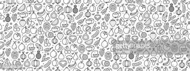 seamless pattern with fruit vegetable icons - vegetable stock illustrations
