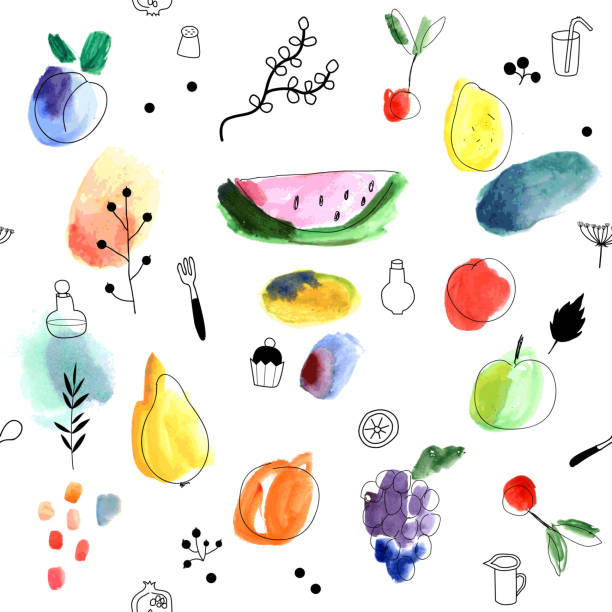 Seamless Pattern With Fruits, Berries. Watercolor Art. Wall Art