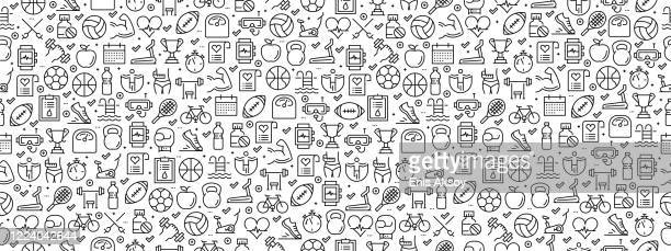 seamless pattern with fıtness icons - boxing sport stock illustrations