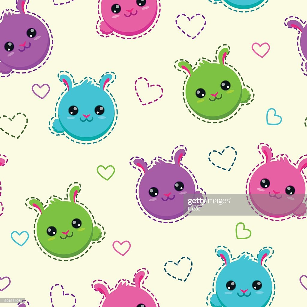 Seamless pattern with funny bunny faces