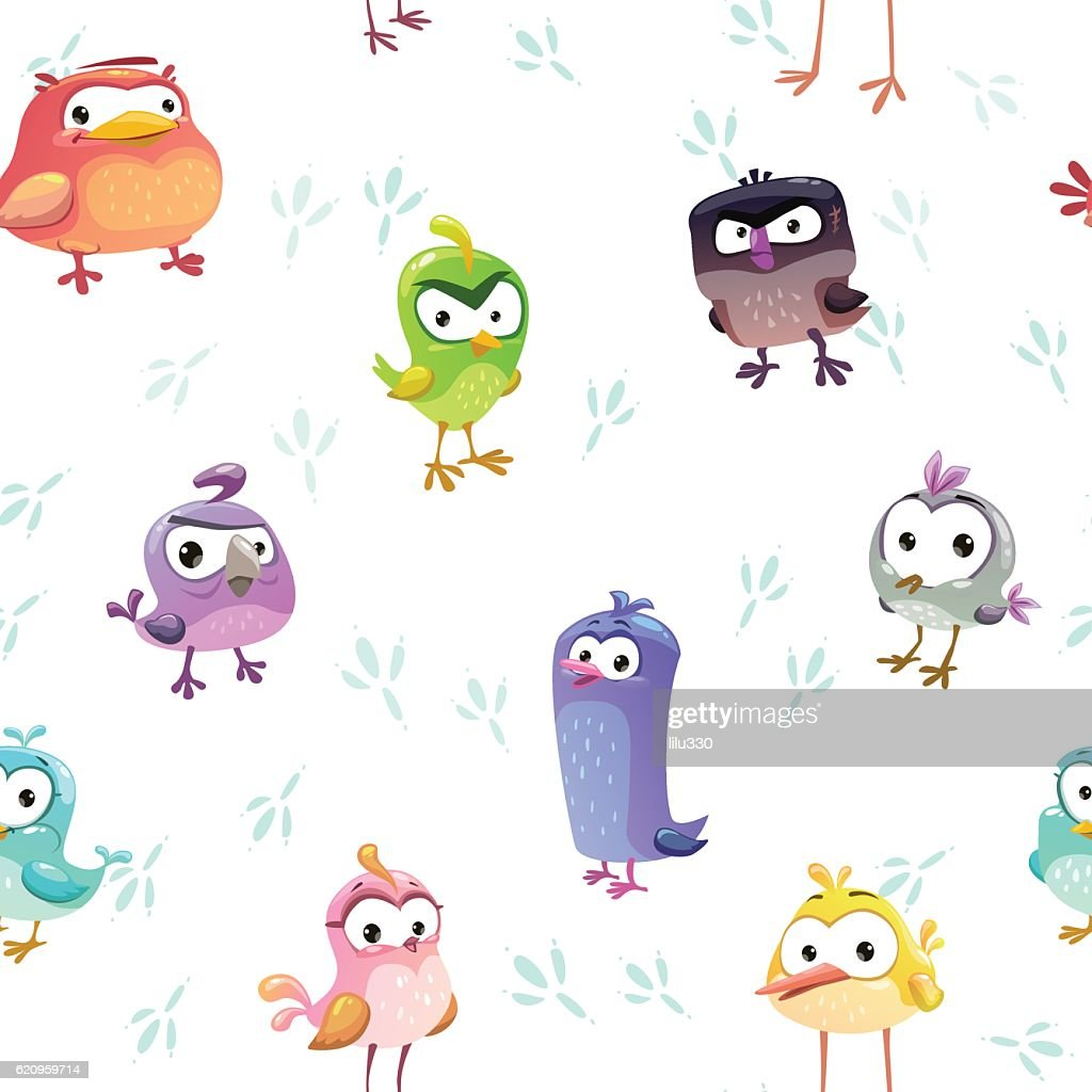 Seamless pattern with funny cartoon comic birds