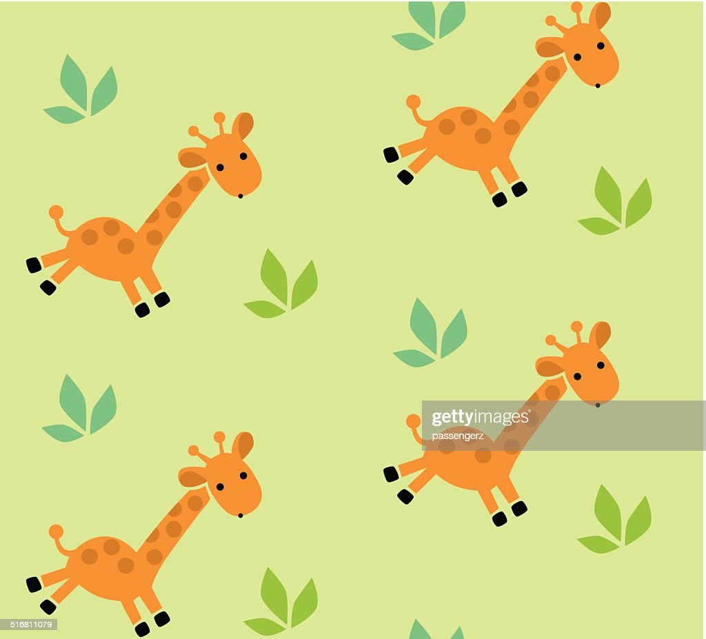Seamless pattern with funny giraffes.